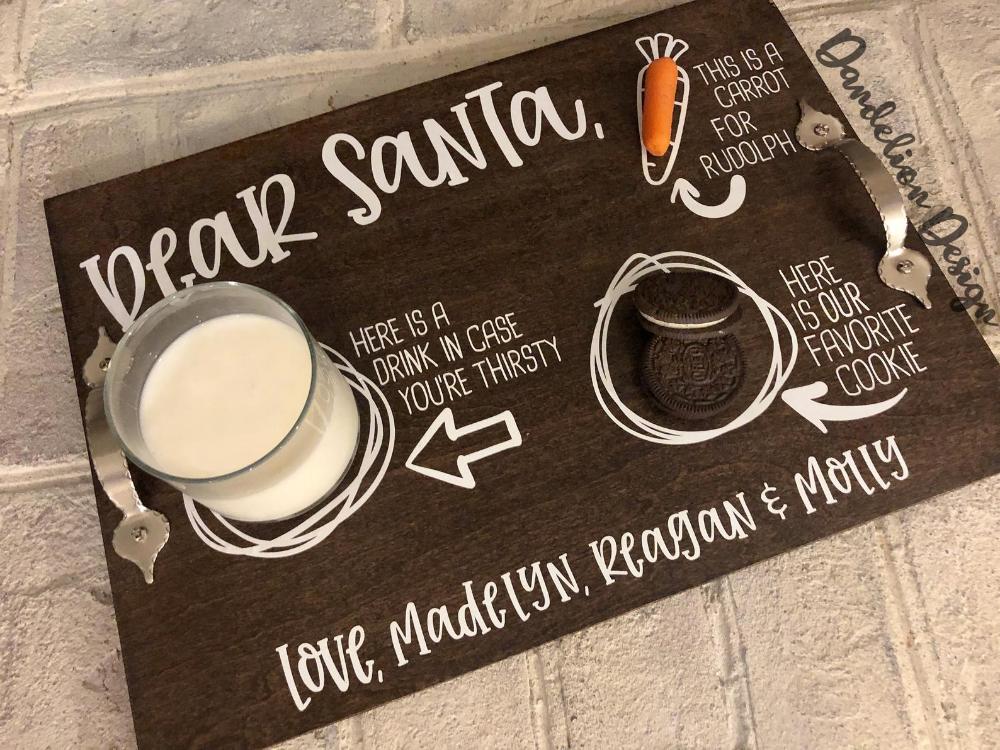 Dear Santa Cookies and Milk Doodle Tray Digital SVG DXF