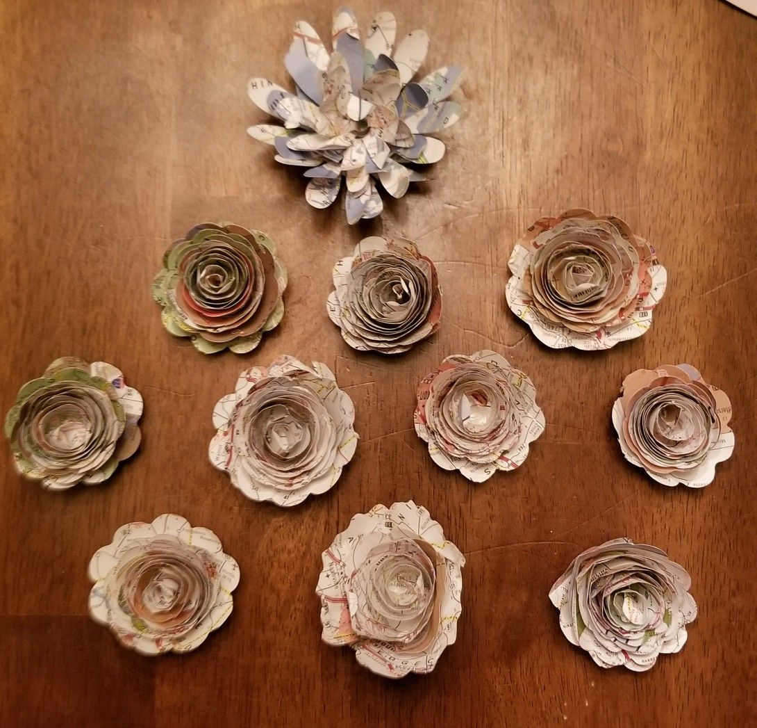 Rolled Paper Flowers Made From Maps My Creativity Crafts Gifts