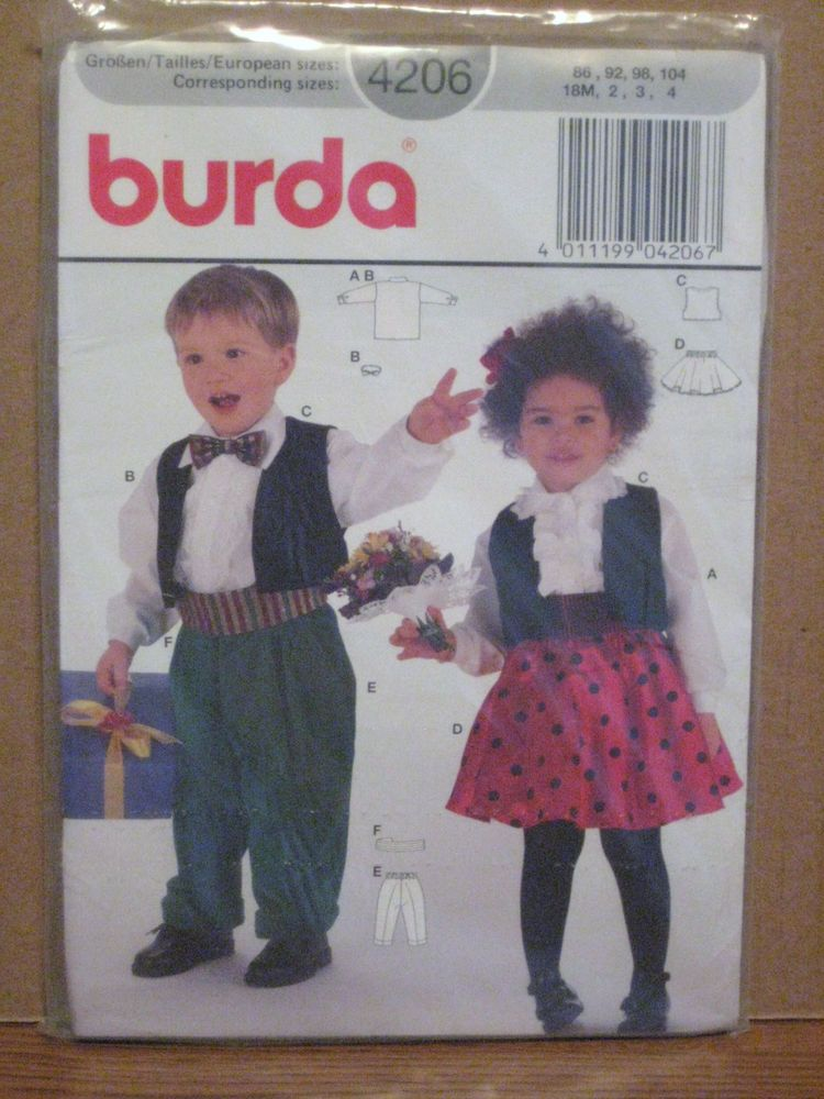 Burda 4206 Boys Girls Vest Shirt Pants Skirt Bow Tie Cummerbund Size 18m 2 3 4 #Burda