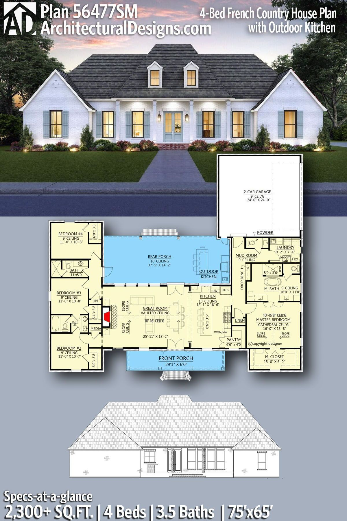 Plan 56477sm 4 Bed French Country House Plan With Outdoor Kitchen French Country House Plans Country House Plan French Country House