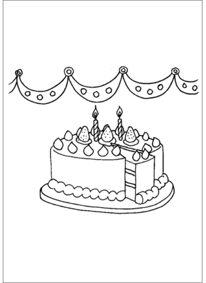 birthday cake and candles printable coloring page free to download and print  candle