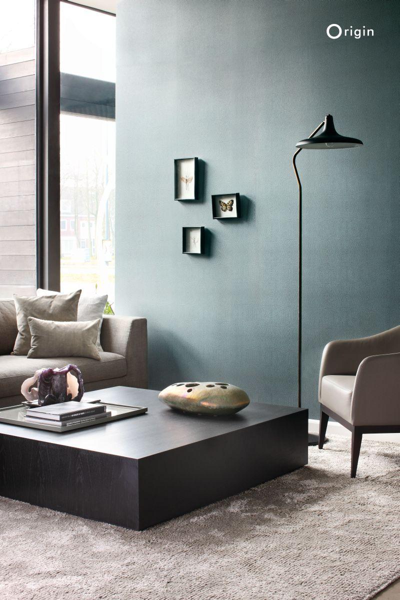 Nonwoven wallpaper animal skin texture petrol blue