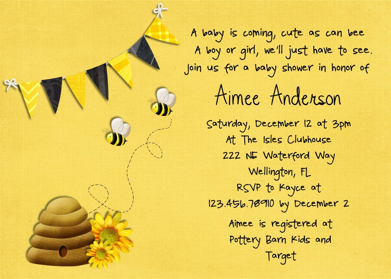 Honey Bee Baby Shower Invitation Printable And Custom