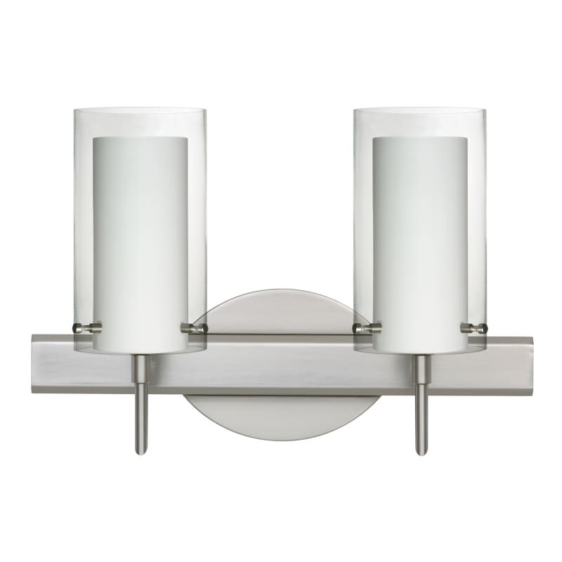 Photo of Besa Lighting 2SW-C44007 Pahu 2 Light reversible halogen washbasin lamp with satin nickel interior lighting