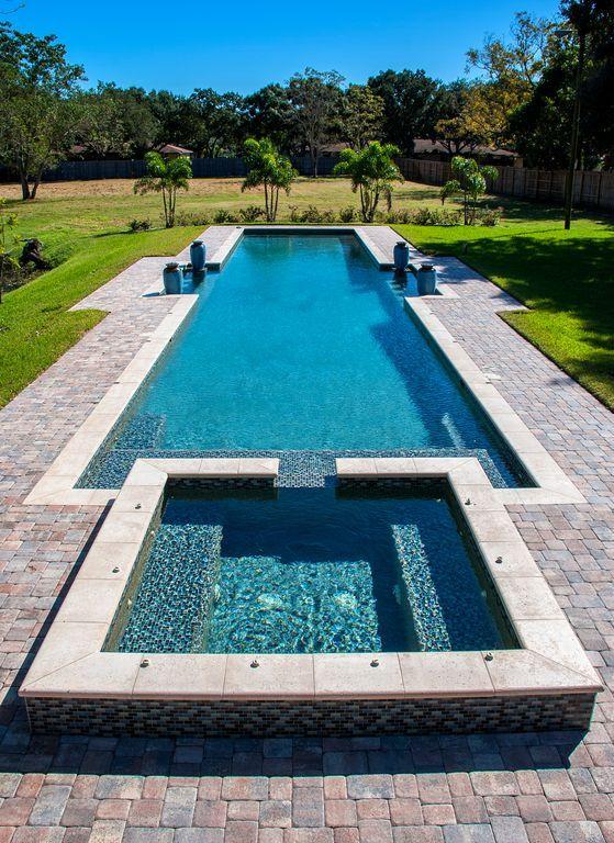 Mediterranean Swimming Pool With Pool With Hot Tub Elena Tumbled Pavers Lap Backyard Pool Swimming Pool Designs Swimming Pool House