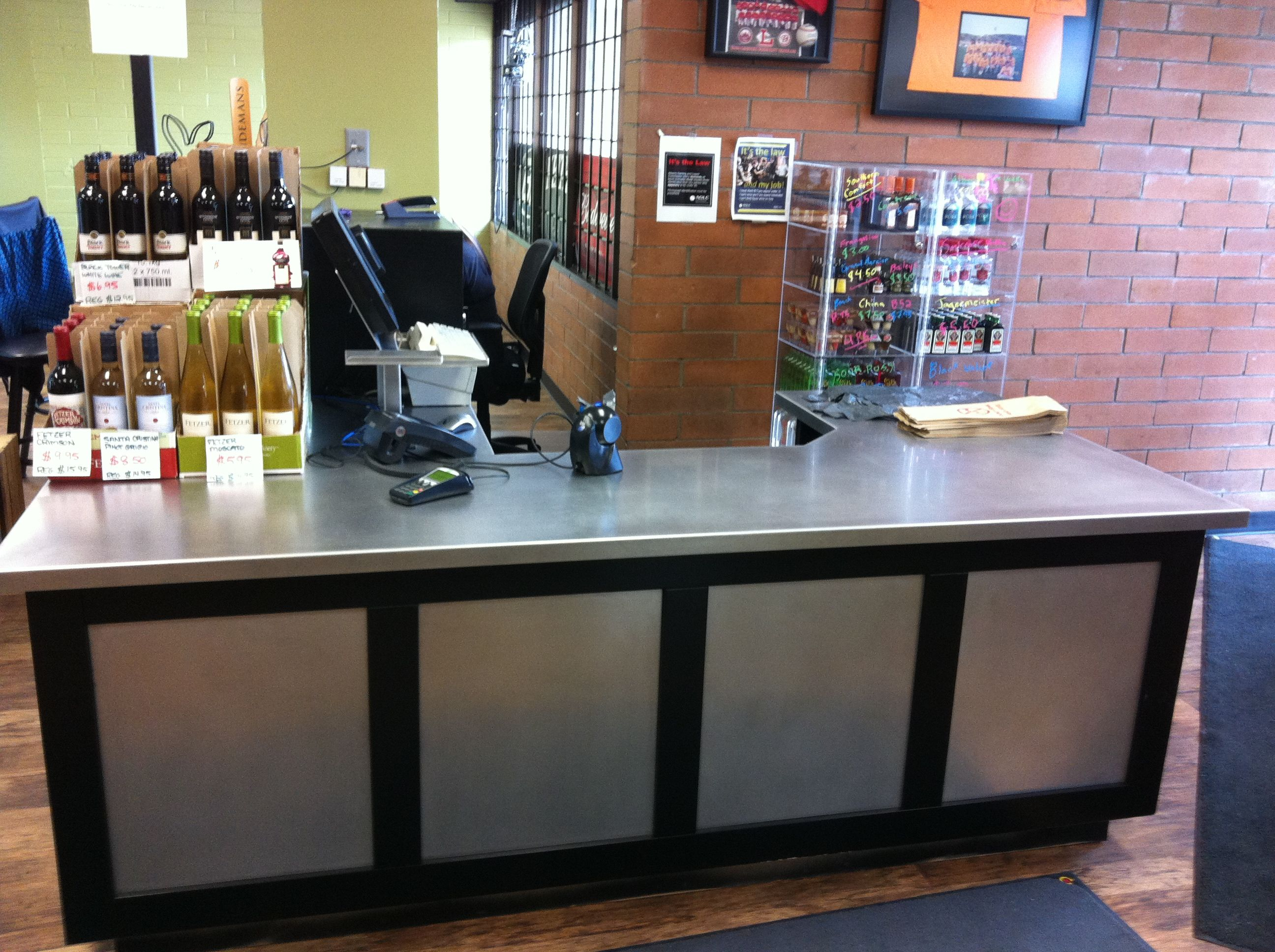 Custom stainless steel cashier station. Heating and air