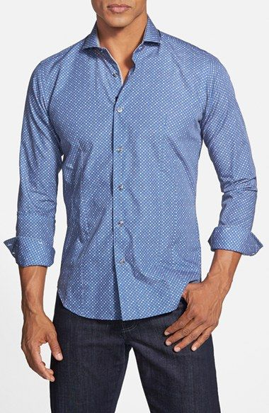 Men's Bogosse 'Giorgio' Shaped Fit Geo Print Sport Shirt