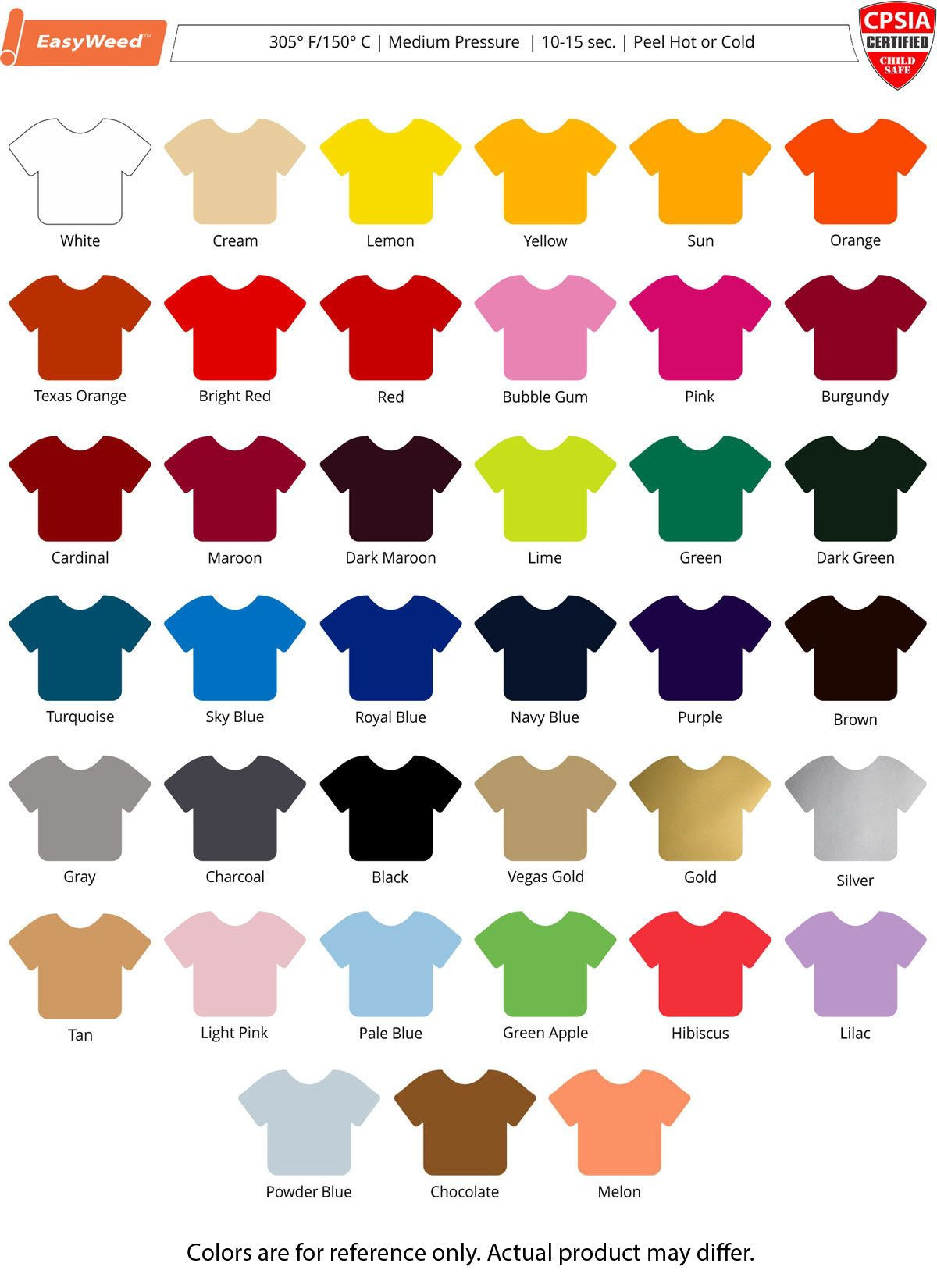 Color Chart Siser Easyweed Heat Transfer Vinyl Silhouette Cricut Explore Projects Charts