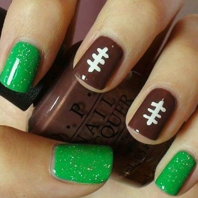 easy football nail design - Ready For Super Bowl: 26 Amazing Football Nail Art Designs Beauty