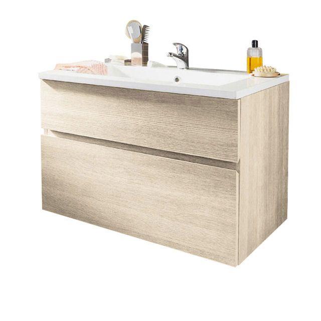 Meuble de salle de bains décor chêne nat 90cm prof38cm Calao