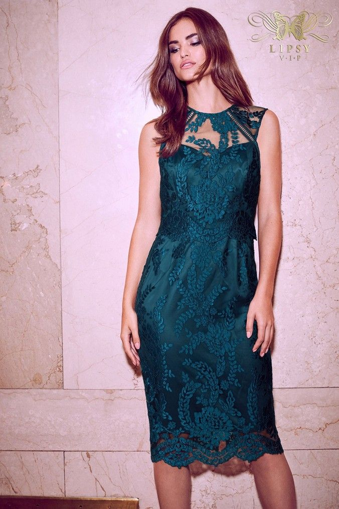cf721135b5 Womens Lipsy Petite VIP Sequin Scallop Lace Midi Dress - Green ...