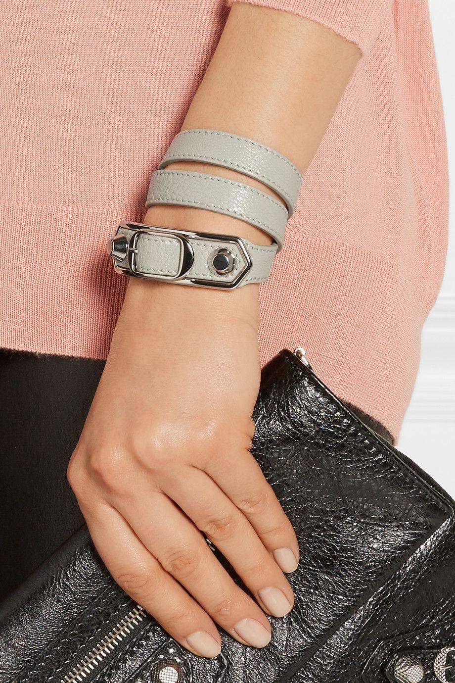 17ec4a4f1432b Balenciaga | Triple Tour textured-leather and silver-tone bracelet ...