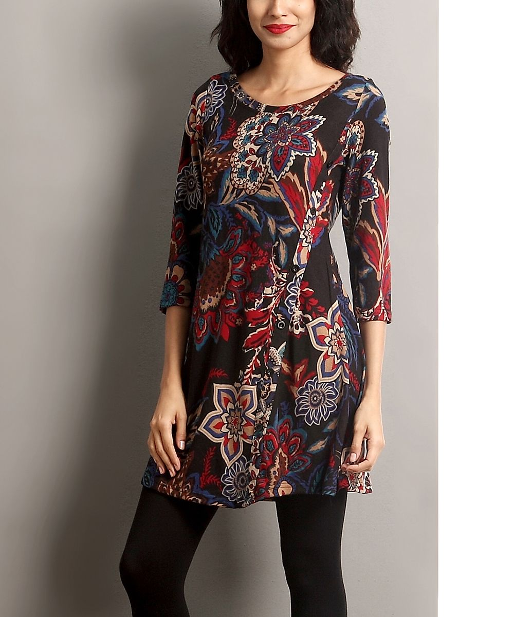Black Floral Side Button Tunic