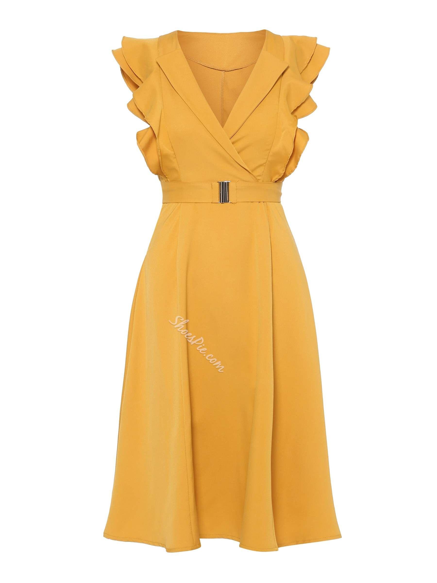 Pleated Wave Cut Slash Neck Womens A-Line Dress