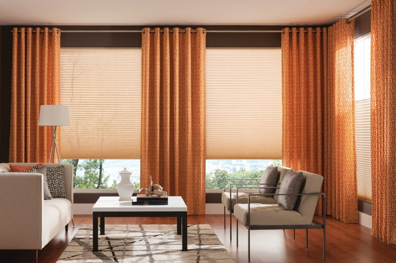 Grommet Draperies with Pleated Shades