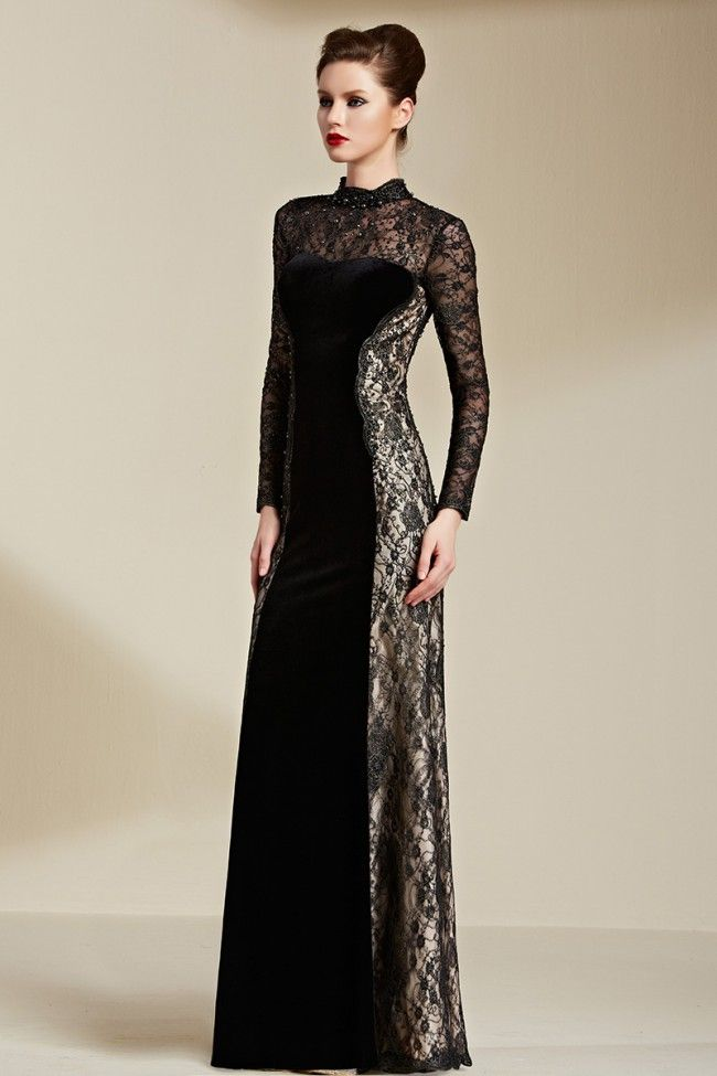Floor Length Black Long Sleeve Lace Formal Dress Evening