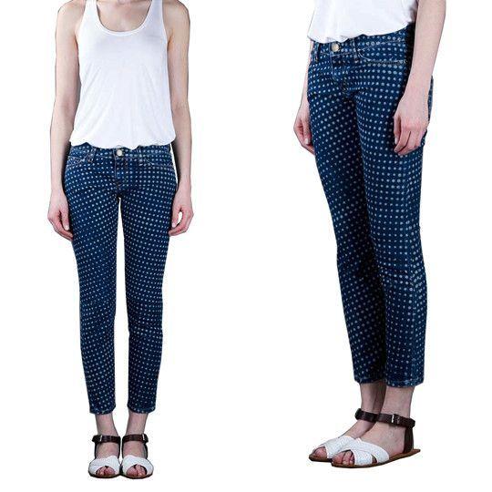 Blue Polka Dot Print Denim Pants-Size 27