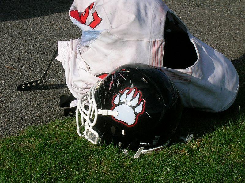 Helmet and pads at rest football helmets helmet