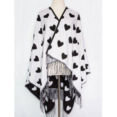 Britain Style Sweet Heart Pattern Outdoor Warm Tassel Pashmina Scarf #women, #men, #hats, #watches, #belts, #fashion, #style