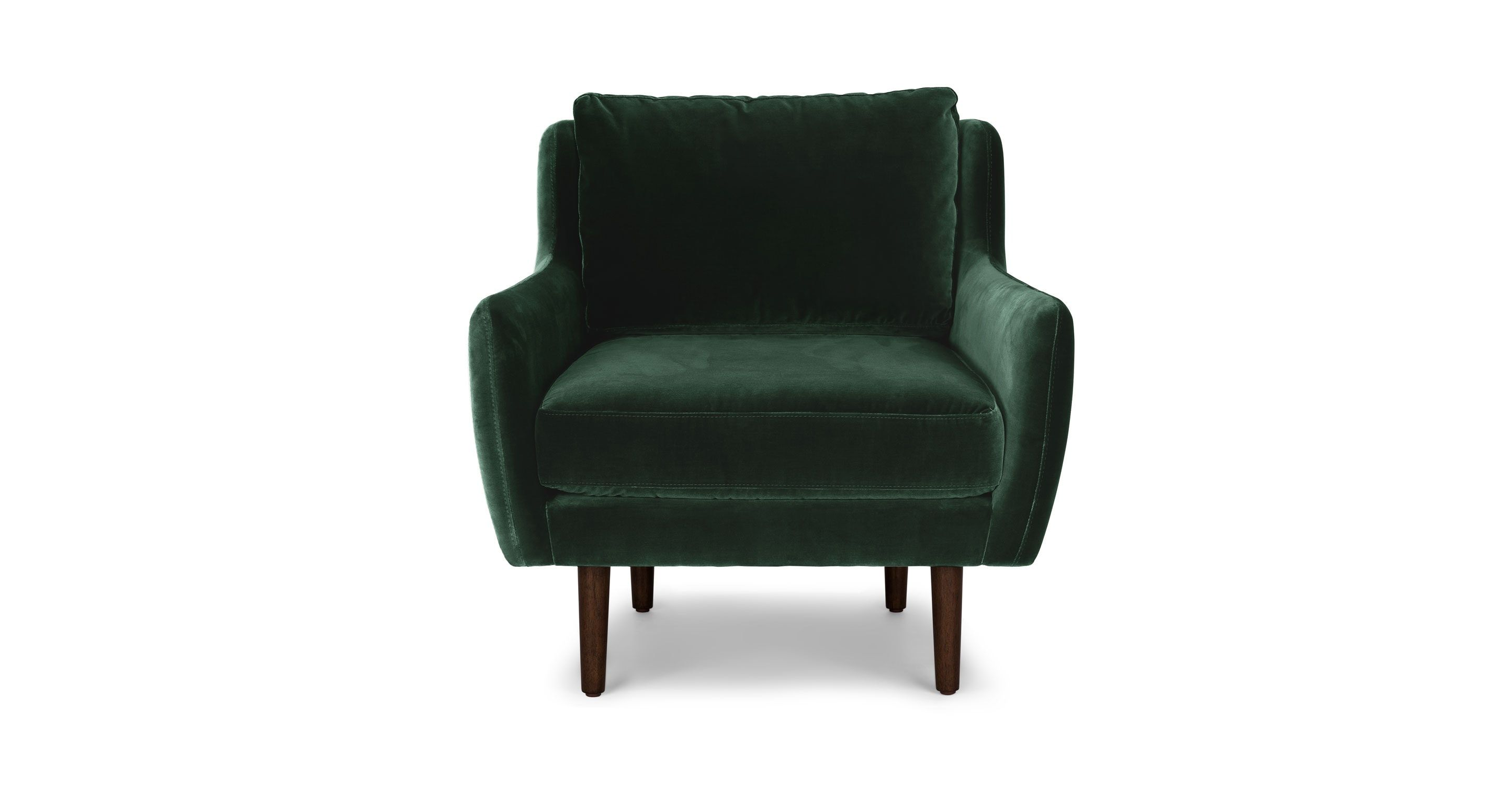 Dark Green Velvet Chair in Walnut Wood Legs | Article Matrix Modern ...