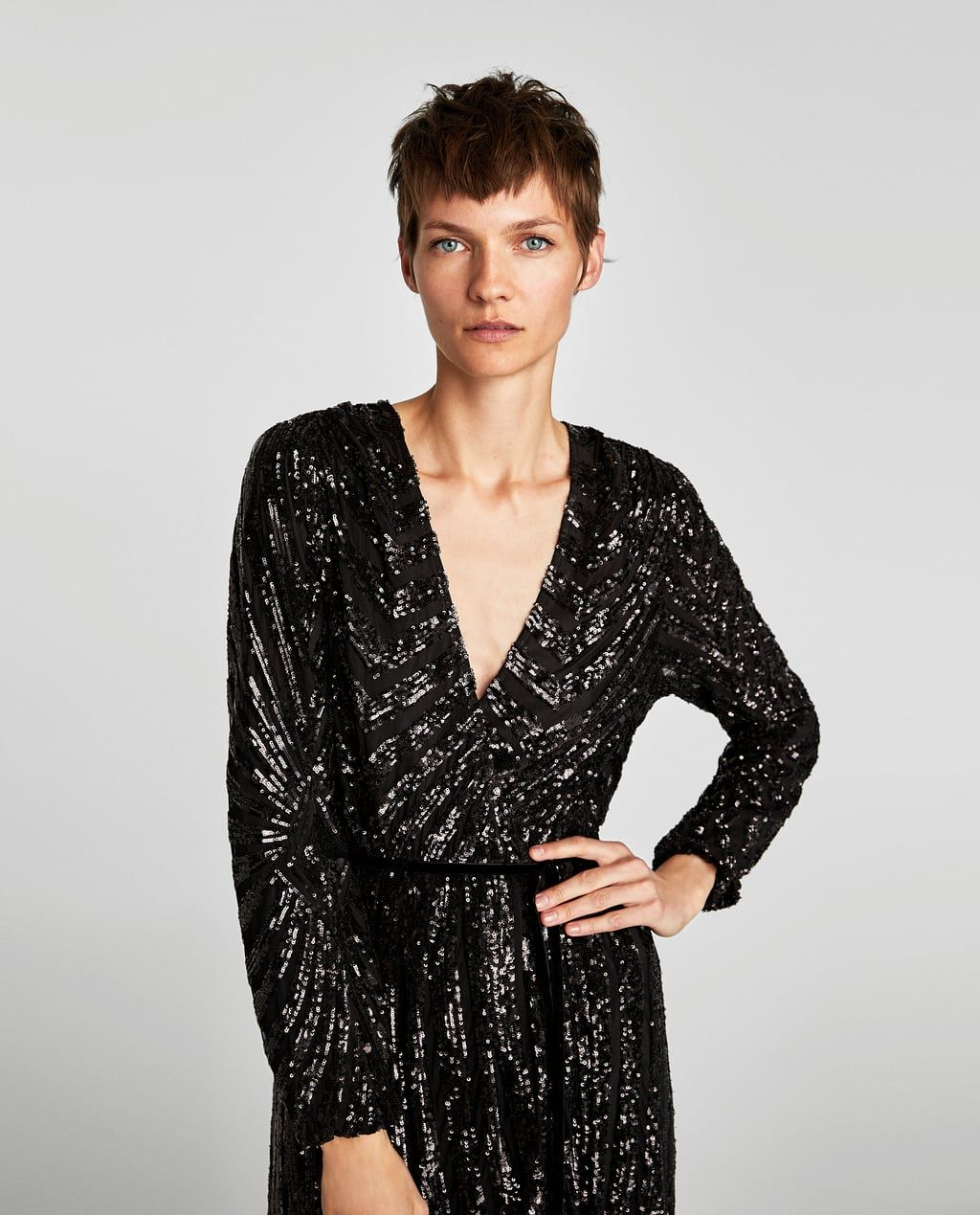 picked up factory outlets good looking SEQUINNED CROSSOVER DRESS-NEW IN-WOMAN | ZARA United States ...