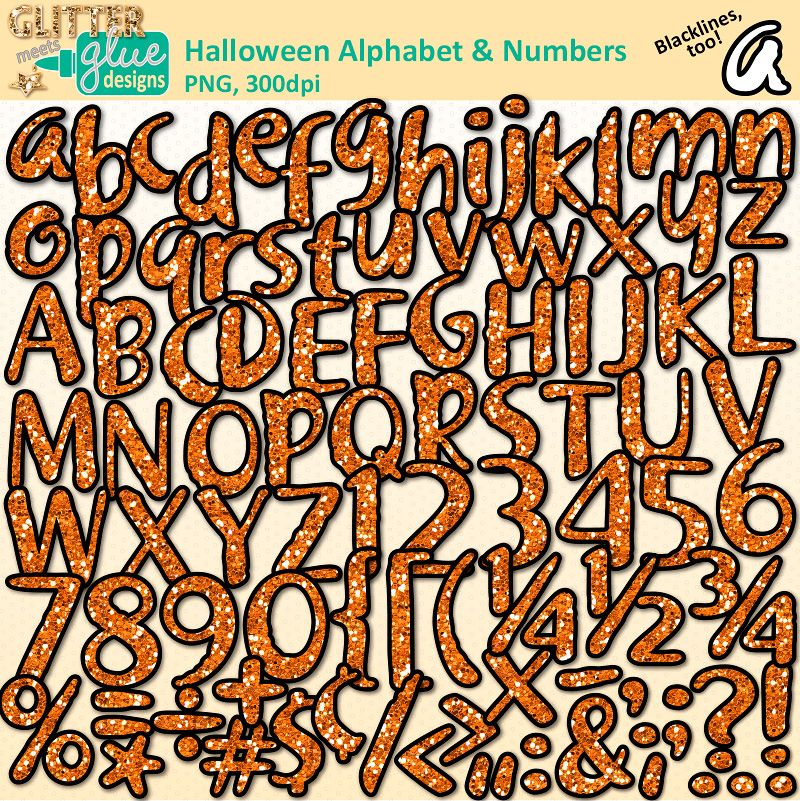 Halloween Alphabet & Numbers Clipart | Alphabet letters, Teacher ...