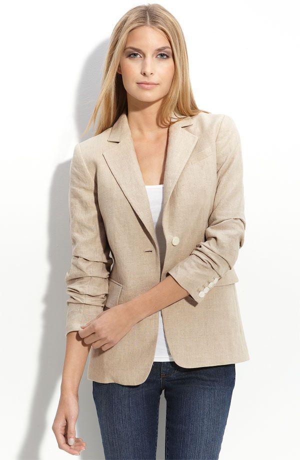 cf8a5376 Michael Kors Ruched Linen Blazer | Apparel for Meh | Linen blazer ...