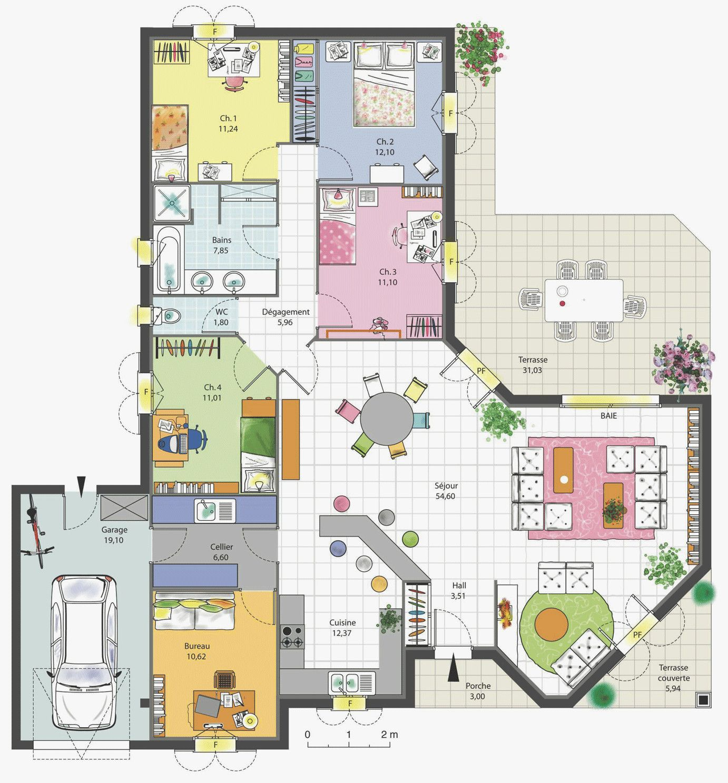 Plan Maison Plain Pied 200m2 Nouveau Maison Familiale 4 Chambres Avec Bureau Terrasse Garage Of Plan Maison Plan Maison 4 Chambres Plan Maison Maison Familiale