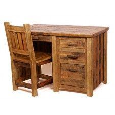 Desk rustic office furniture six drawers key board tray rustic