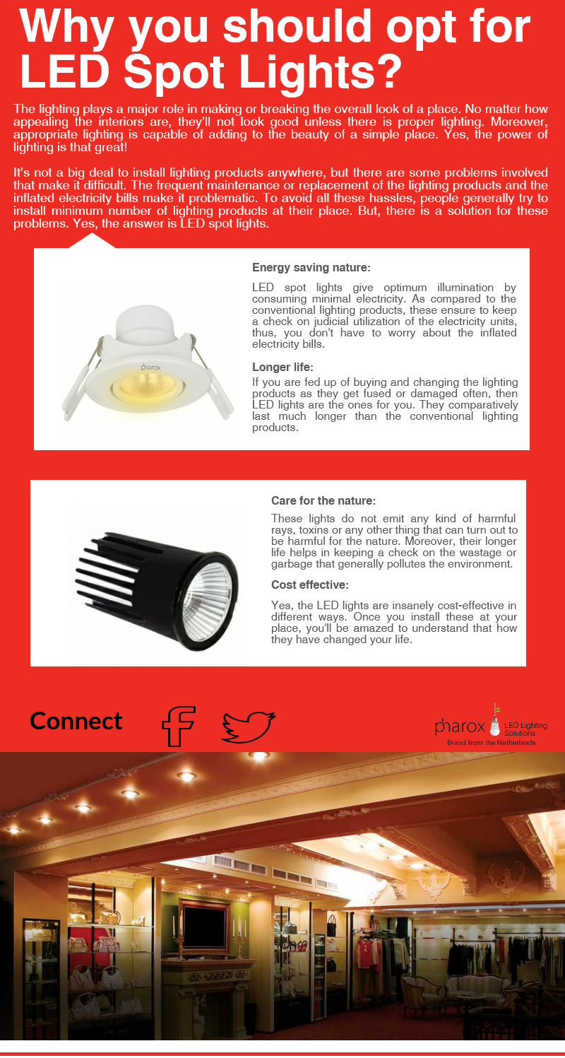 LED spot lighting can easily be installed at desired places for