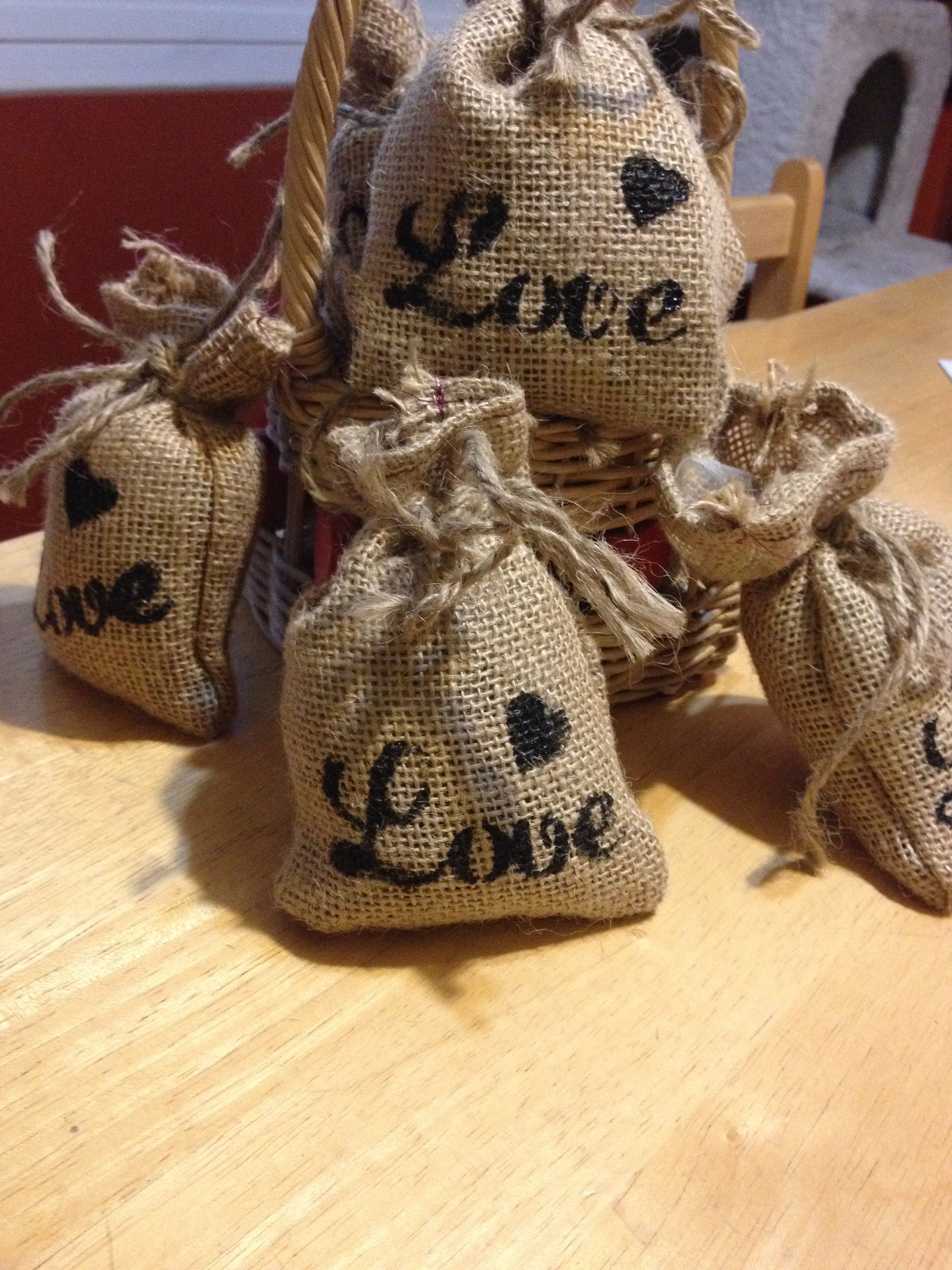 Hand stamped Burlap sacks filled with coffee beans for