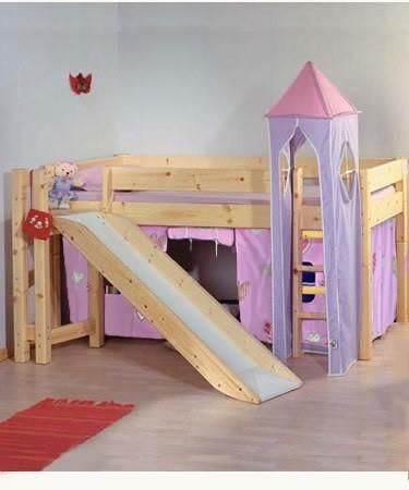 Childrens Beds With Slides children's princess castle bunk bed with slide, stairs & wardrobes