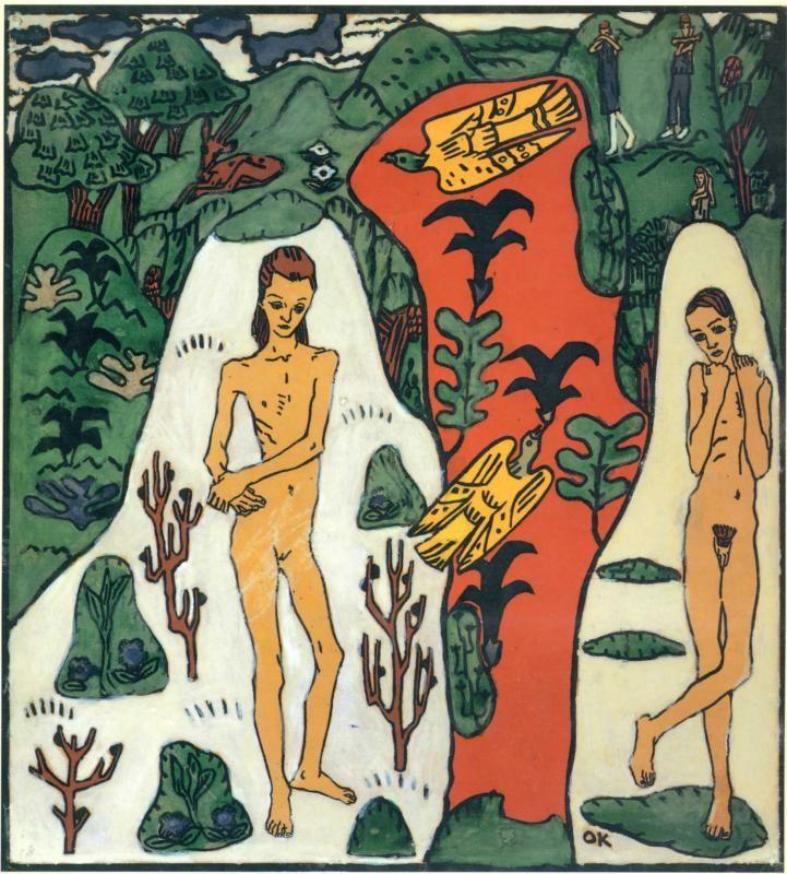 The Dreaming Boys, 1908-Oskar Kokoschka - by style - Naïve Art (Primitivism)