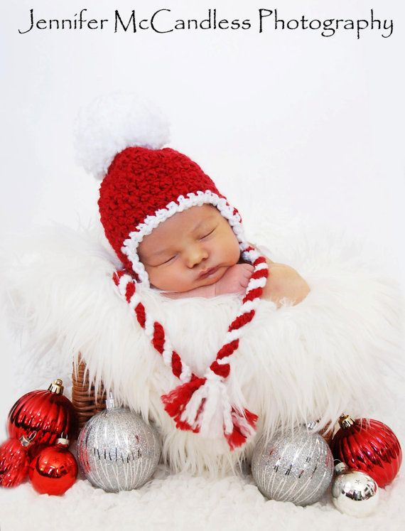 crochet baby boy girl christmas candy cane pom pom earflap hat made to order newborn 0 3 m 3 6 m holiday santa cap photo photography prop