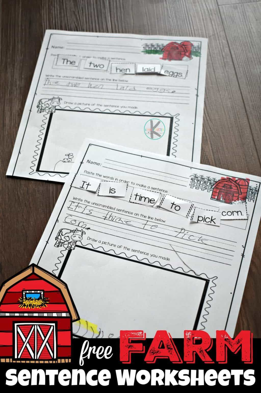 Farm Sentence Worksheets With Images