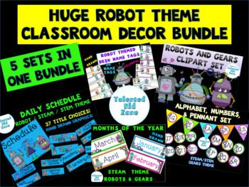 This set is perfect for a whimsical classroom with a STEM STEAM Robot or Science theme 1 Desk Name Tags There are 34