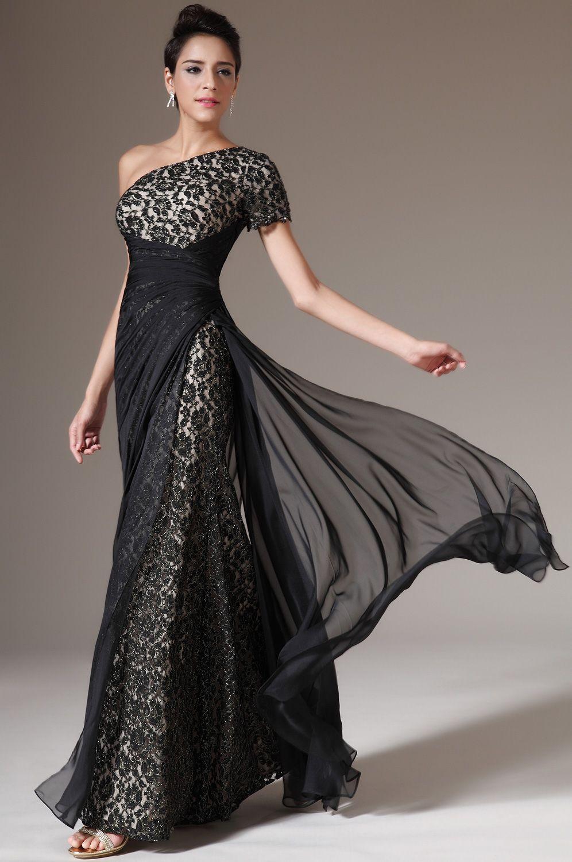 eDressit Black One Shoulder Lace Evening Dress (14)  Lace