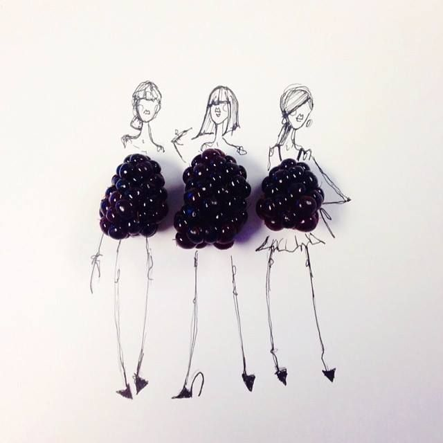 creative fashion sketches with food by gretchen roehrs