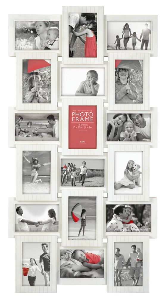 18 Photos Large Multi Aperture Photo Picture Frame Holds 6\'\'X4 ...