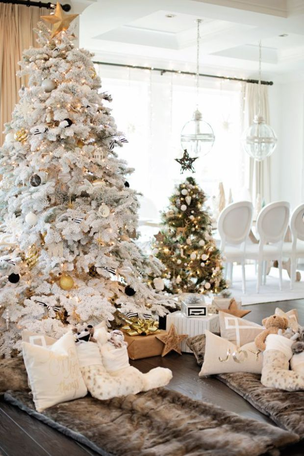 Florida Glam Christmas Decor Flocked Christmas Trees Holiday Decor