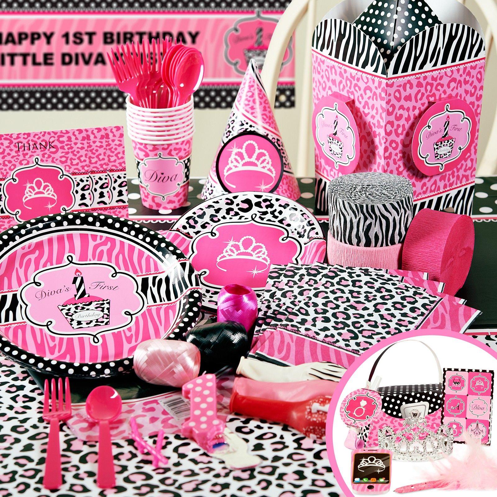 Diva Zebra Print 1st Birthday Party Packs 86382 Party ideas