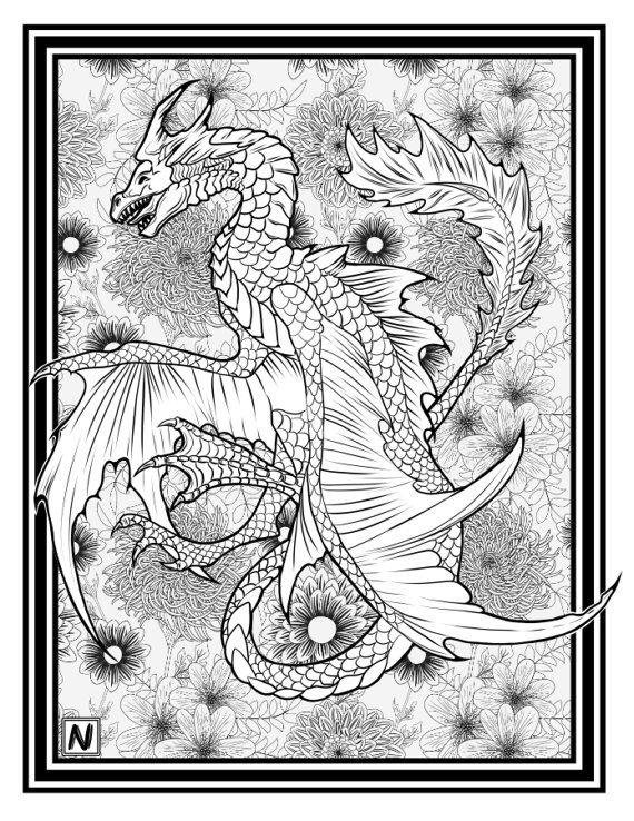 Downloadable High-Resolution Coloring Page; Dragon LIHAIA | Páginas ...
