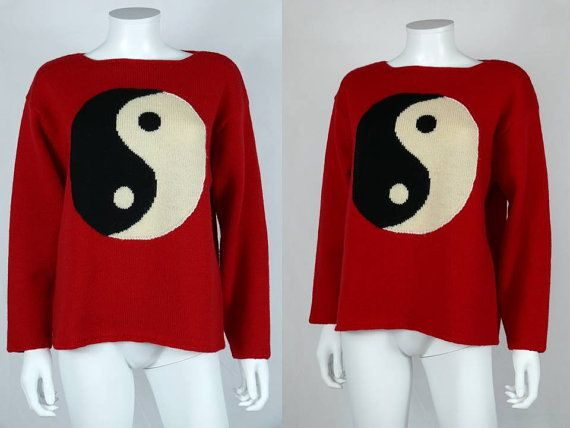 MOSCHINO * Gorgeous vintage iconic Yin Yang wool jumper