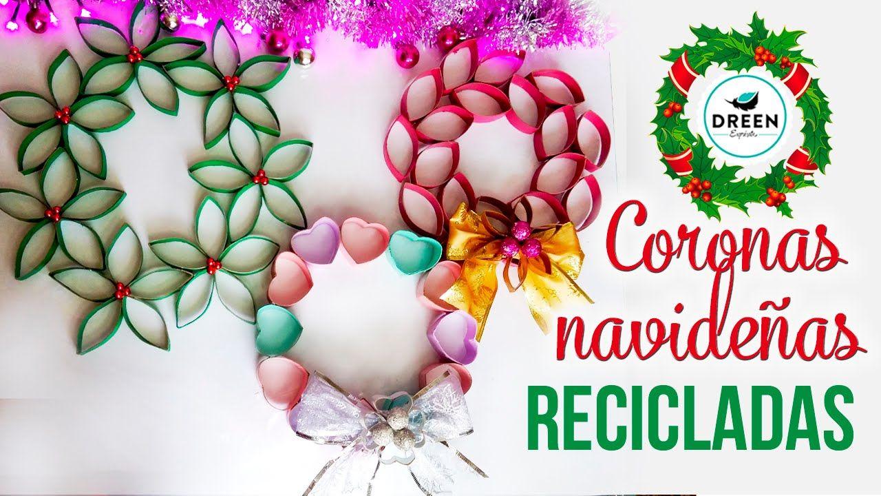 Coronas navideñas reciclando rollos de papel higiénico e0f782d60c9