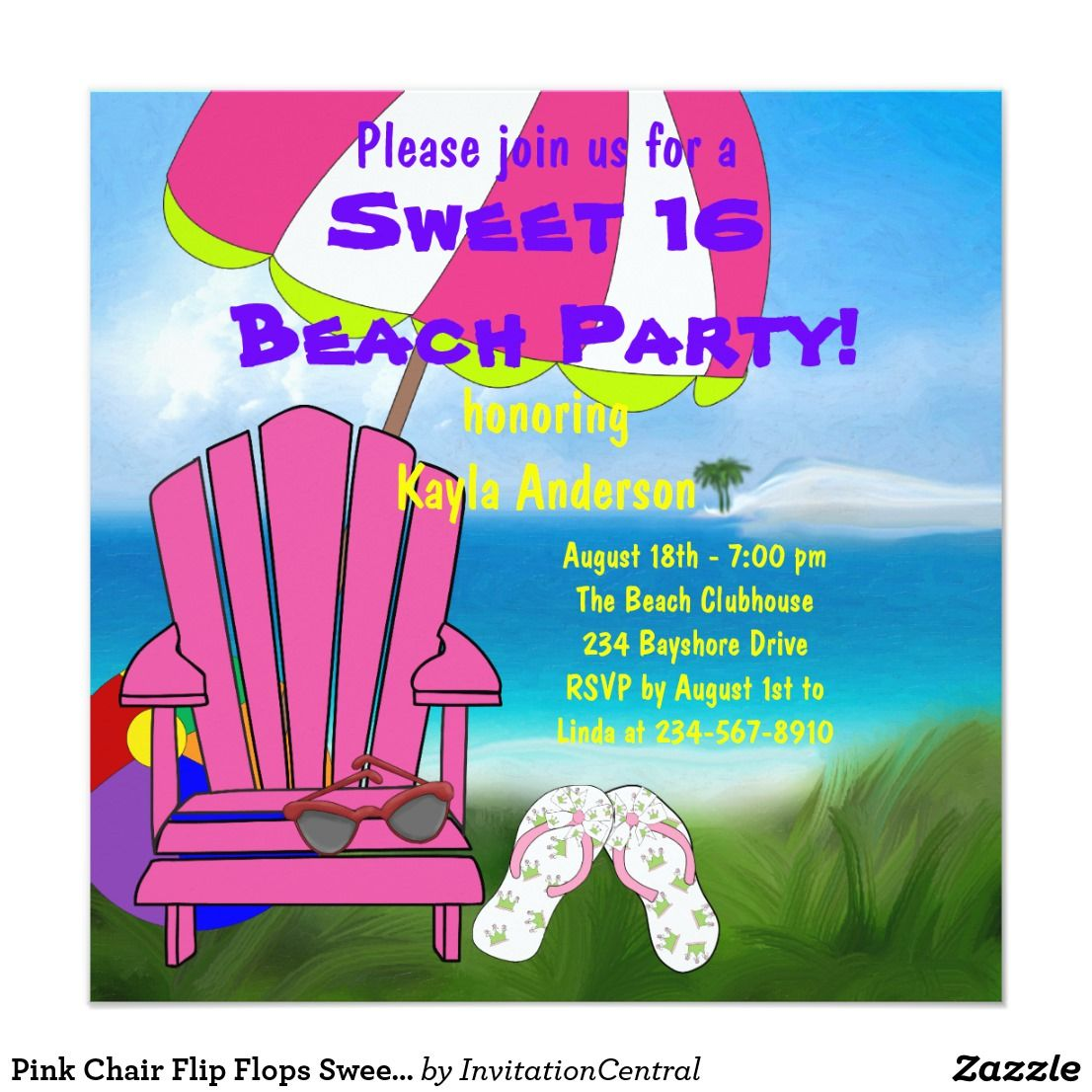 Pink Chair Flip Flops Sweet 16 Beach Party Card Pink Chairs Sweet