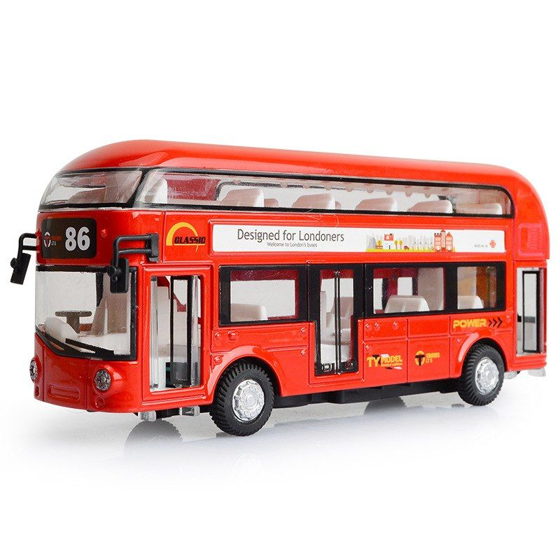 Classic Red Double Decker Metal Bus