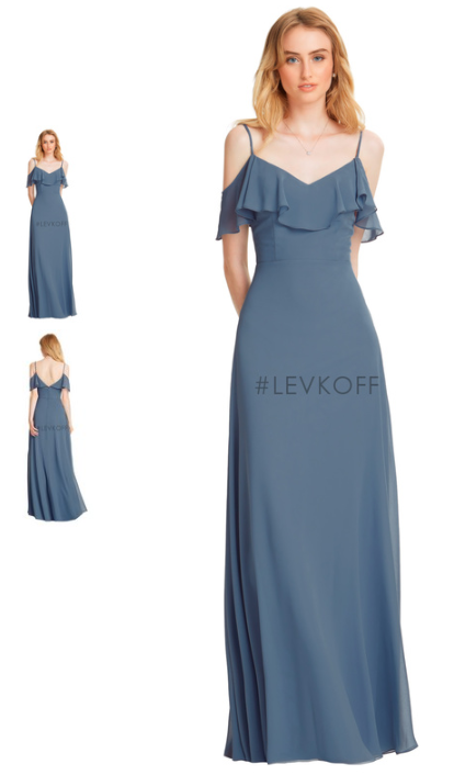 SKU 77150 Chiffon V Front And Spaghetti Strap Gown Off The Shoulder Ruffle Bodice A Line Skirt Also Available To Order In Different Colors