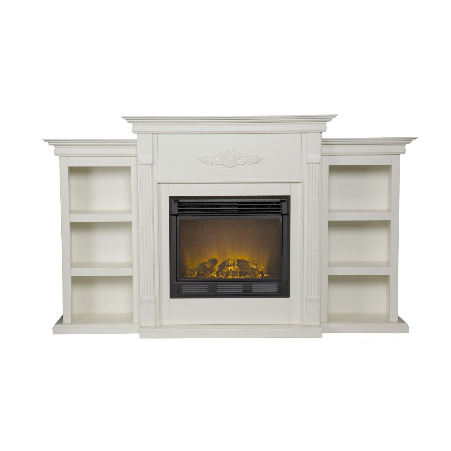 amazon com sei tennyson electric fireplace with bookcases ivory