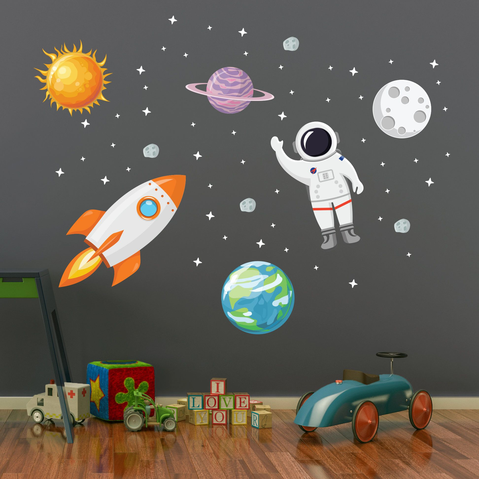 Outer Space Wall Decal Stars Planets Astronaut Rocket Solar Etsy In 2021 Space Wall Decals Kids Wall Decals Outer Space Bedroom