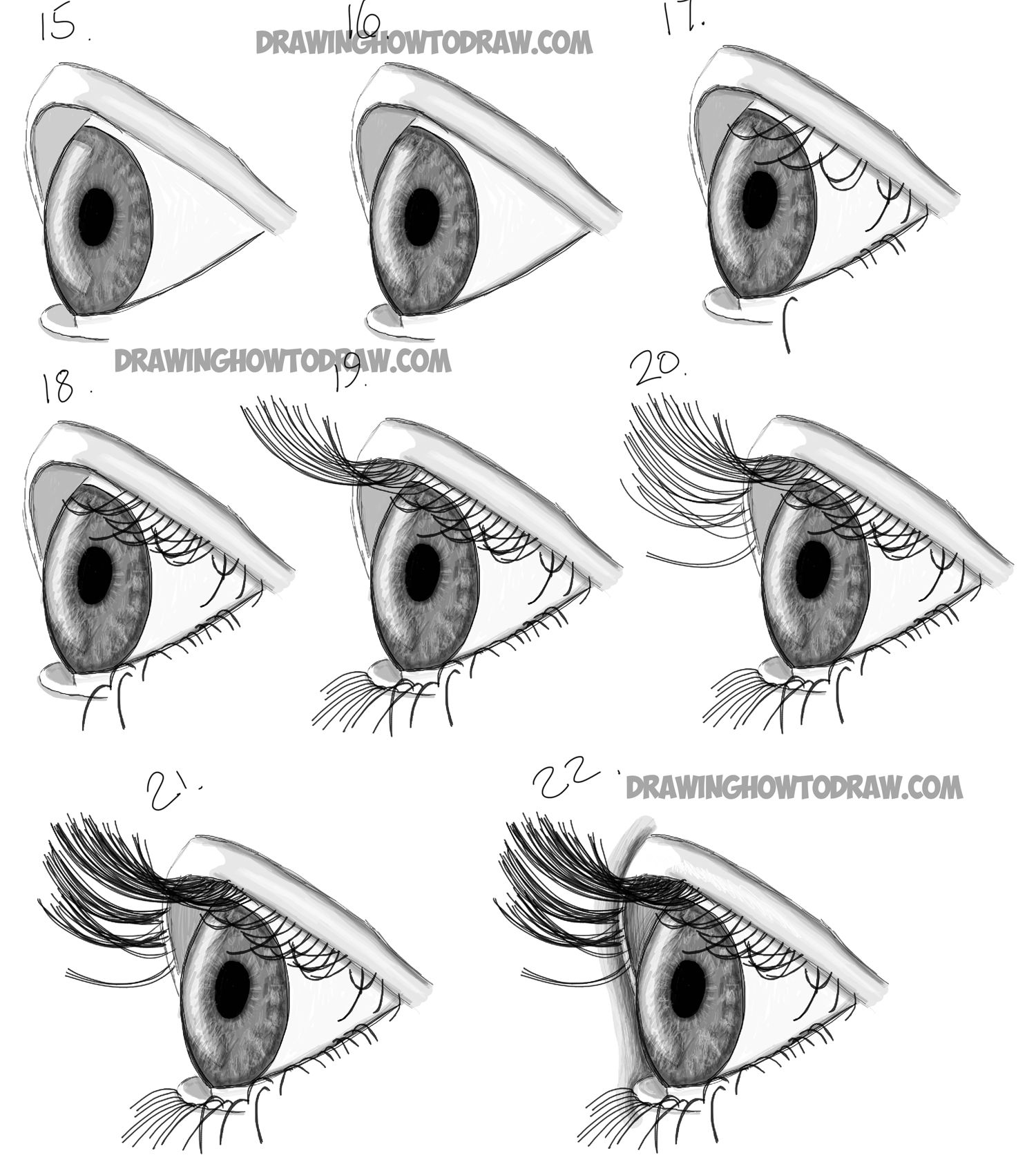 How to Draw Realistic Eyes from the Side Profile View Step by Step